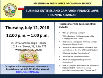 Business Entities and Campaign Finance Laws Training Seminar